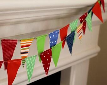 Circus Party bunting. Custom Birthday Party decor. Fabric flag banner. Nursery decoration. baby shower boy, wedding card table banner