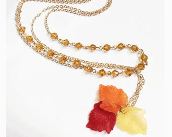 Gold plated beads chain with autumn leaves pendant , two layers sweater necklace