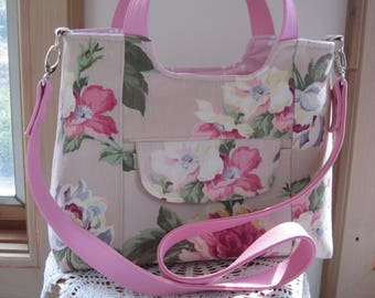 Repurposed Vintage Shabby Rose Chic FAUX leather purse, Bagstock Rose handbag Handmade Handbags Mother's Day Gift Spring Handbag