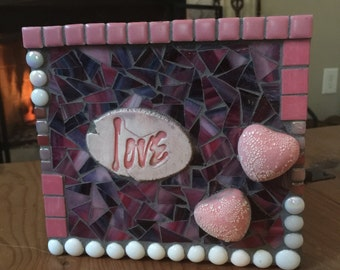 LOVE Mixed Media Mosaic Art Desk or Wall Hanging Collage