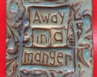 SALE!! Away in a manger  handmade earthenware tile by tilesmile