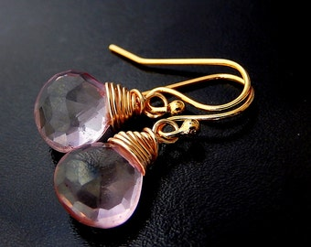 Pink Mystic Quartz Earrings, Gold Drop Earrings, Wire Wrapped Pink Gemstone Teardrops