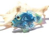 Aqua blue Glass bead fish pendant necklace, Lampwork Glass Beads, deep blue ocean handmade focal bead, jewelry supplies, SRAJD, CGGE