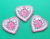 3 Floral Heart Appliques