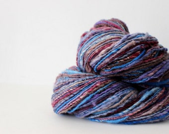 Berry Delights - Polwarth Singles Handspun Wool Yarn Worsted - DK Weight Soft Natural Fiber Hand Spun knitting shawl
