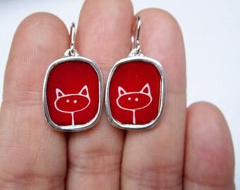 Stick Kitty Earrings - Red Cat Earrings