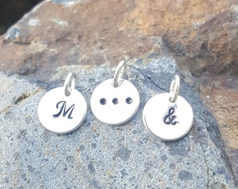 Initial Necklace Charm - Hand Stamped Sterling Silver - Ellipsis Ampersand Letter - Initial Bracelet