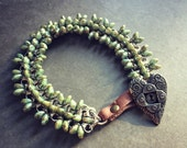 Bicycle Chain Bangle with Drop Seed Beads and Heart Button