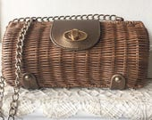 Vintage Brown Basket Weave Straw Handbag Purse