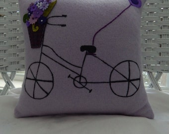 Recycled Cashmere Sweater Bicycle with Basket Pillow - Purple
