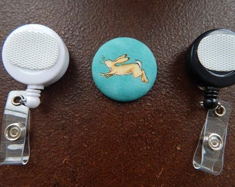 Fabric Covered Button for Clip on Retractable Badge Reel - Rabbit or Bunny