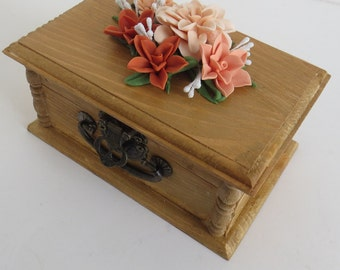 Trinket Box Wood Decorated Flowers Handmade Cold Porcelain Gift