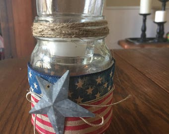 4th of July mason jar candle holder