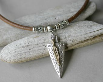 Men's Matte Silver Arrow and Brass Feather Thick Leather Cord Necklace, Masculine Necklace, Arrow Necklace, Mixed Metal Masculine Jewelry