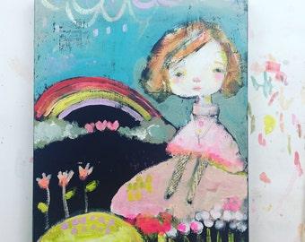 Love Blooms - 9x12 original (RESERVED for Kelli M.)