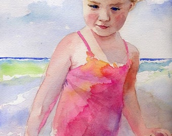 Blond girl Child Children Beach art Print of my Watercolor Painting sea landscape portrait custom
