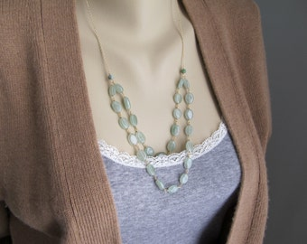 Pale Green Aventurine Necklace, 2 Tier 14K gold filled Necklace, Gift for Her