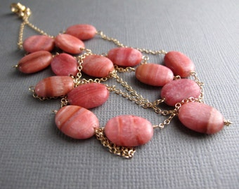 Pink Opal Necklace, 14K Gold Filled Layering Necklace, Pink Gemstone Jewelry
