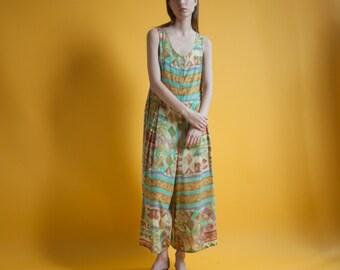 print wide leg jumpsuit / printed palazzo jumpsuit / s / m / 1546d / B1