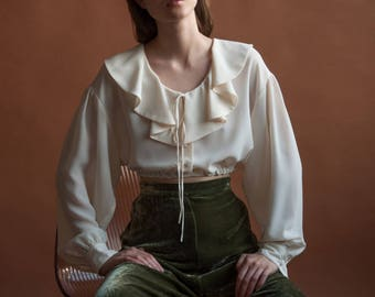 cream white ruffle collar crop top blouse / semi sheer blouse / poet blouse / s / m / 2485t