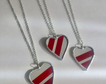 Big Stripe Red and Clear Mirror Heart Pendants by Glass Action