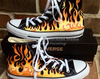 Converse Shoes, Handpainted Sneakers, Painted Flames on Black High Tops for Kids, Chucks for Birthday Boy, Gift for Nephew, Toddler, Unisex