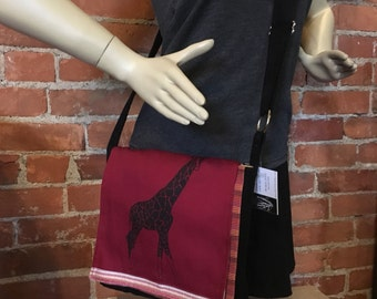 Giraffe Messenger Bag Red Black 10 x 10