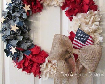 "Patriotic Wreath, Rag Wreath, Americana, Rustic Shabby Decor Round  22"" July 4th"