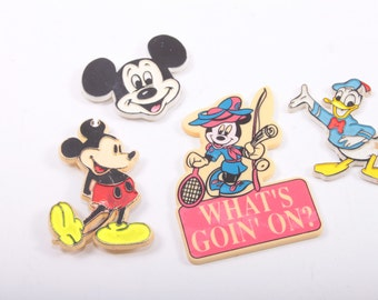 Vintage, Disney Magnets, Plastic, Donald Duck, Mickey Mouse 161011