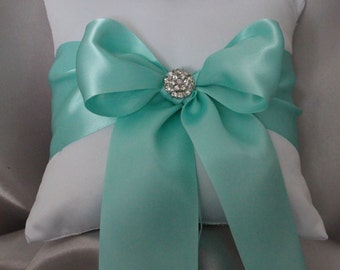 Ivory or White Ring Bearer Pillow with Aqua Blue Satin Ribbon and Rhinestone Accent
