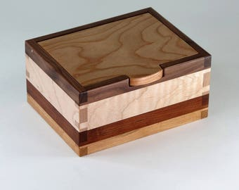 Keepsake Box, Jewelry Box, Valet of Cherry, Wavy Maple, Walnut, Mahogany Wood
