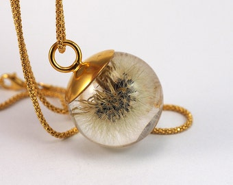 Dandelion Necklace, Dandelion Pendant, Sterling Silver Dendalion Necklace with Gold Plated Silver Cap, Resin Jewelry,