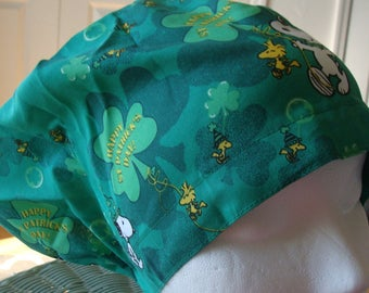 Happy St Patricks Day with Snoopy Hattie Style............Surgical Hat....Chemo Cap....Bakers Cap