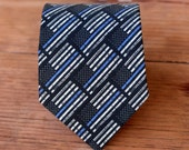 Mens police support necktie - black blue American flag cotton neck tie - law enforcement, supporters bow tie - policeman - Thin Blue Line