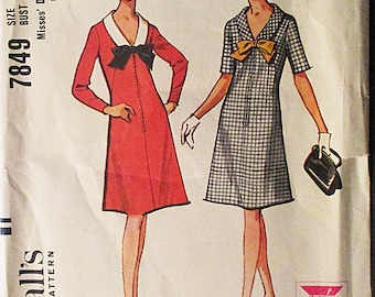 1960s Vintage Sewing Pattern McCalls 7849 Misses Dress Pattern Size 16 Bust 36