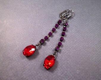 Rhinestone Earrings, Red and Violet, Gunmetal Silver Long Dangle Earrings, FREE Shipping U.S.