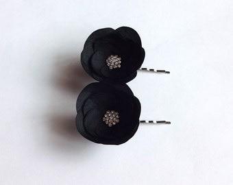 Black Silk Flowers Hair Pins, Shoe Clips