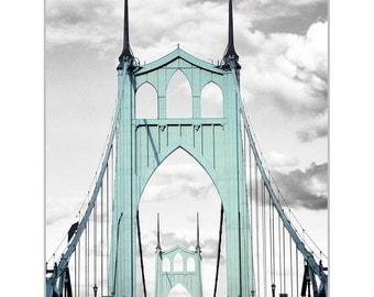 St Johns Bridge in Portland, Oregon Canvas on Wood