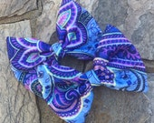 New Shop Item, Large Felt Hair Bows,Puple and Blue Paisley,French Barrettes,5 Inches Wide,One Time Only Price!