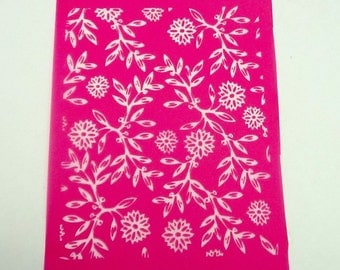 Flowers and Leaves Silkscreen for Polymer clay, or flat surfaces such as metal, Paper Crafts