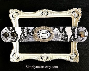 Embossed Leather Faux Snake Skin Cuff Accented with Vintage Rhinestone Buckle... Wild At Heart Eight