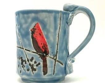 Ceramic Mug Cardinal Bird Handmade Handpainted On Sky Blue 14 Ounces MG001 Ready to Ship Teacup Coffee Cup