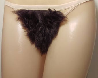 Size Medium Merkin Thong Back Brown Faux Fur Pubic Hair Wig Merkin36