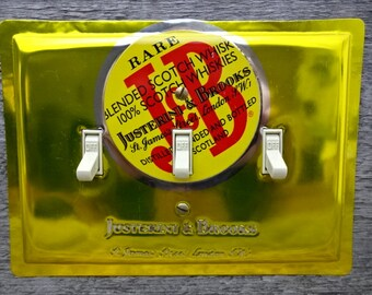 Mod Wall Art Hanging Contemporary Bar Decor Light Switch Cover Triple Switchplate Plate Made From An Old J&B Scotch Tins TP-4014
