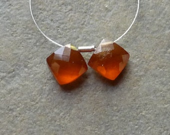 AA Hessonite Faceted Diamond Briolettes - 7mm - Matched Pair