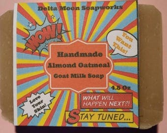 Almond Oatmeal Goat Milk Soap, sweet almond oil, honey oatmeal Soap, handmade oatmeal soap, cold process soap, soap for sensitive skin