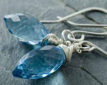 London Blue Quartz Earrings. London Blue Quartz Gemstone. Faceted Briolette Earring. Sterling Silver Earrings. Briolette Jewelry.