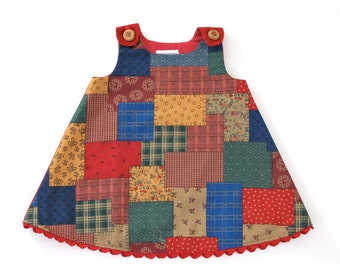 Winter Patchwork Cozy Girls' Christmas Dress, Newborn, Baby Girls' Dress - Size Newborn to 12 - 18 Months - Holiday Dress, Tea with Santa