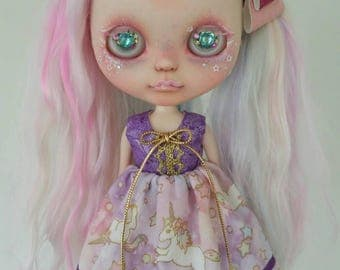 Purple and Gold Unicorn dress for Blythe and Pullip