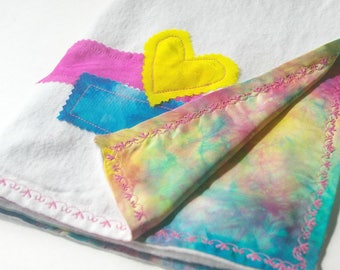 Rainbow Baby Lovey Blanket: Natural Silk & Organic Cotton Flannel Hand  (Ready to Ship)
